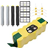 efluky 3.0Ah Ni-MH Replacement Roomba Battery + Replacement Accessory Part Kit for iRobot Roomba 800 Series 800 850 860 865 866 870 871 875 876 880 886 890- a set of