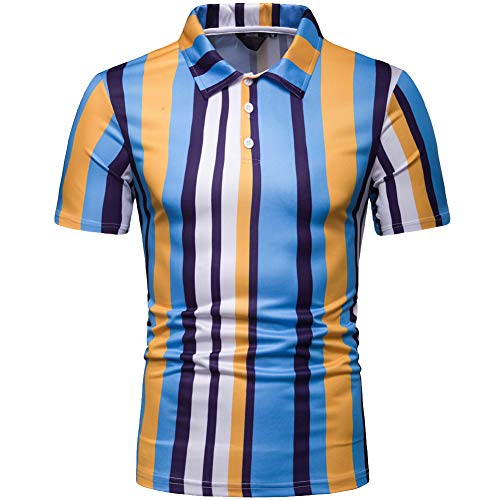 (Elegeet Men's Casual Short Sleeve Polo Shirt Slim-Fit Vertical Stripe Golf Shirt Yellow Medium)