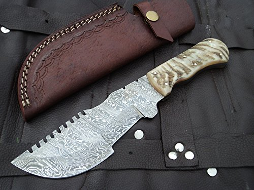 (DKC Knives (2 7/18) SALE DKC-700 RUSTIC TRACKER Damascus Survival Hunting Knife Bone Horn Damascus Steel Blade 11oz 10