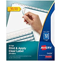 Avery 12-Tab Binder Dividers, Easy Print y Apply Clear Label Strip, Index Maker, White Tabs, 1 Set (11428)