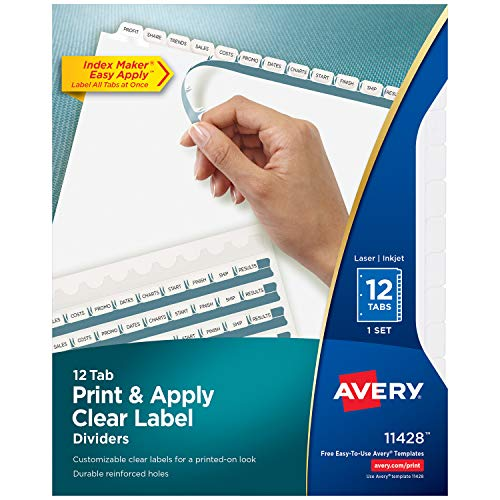 Avery 12-Tab Binder Dividers, Easy Print & Apply Clear Label Strip, Index Maker, White Tabs, 1 Set (11428) ()
