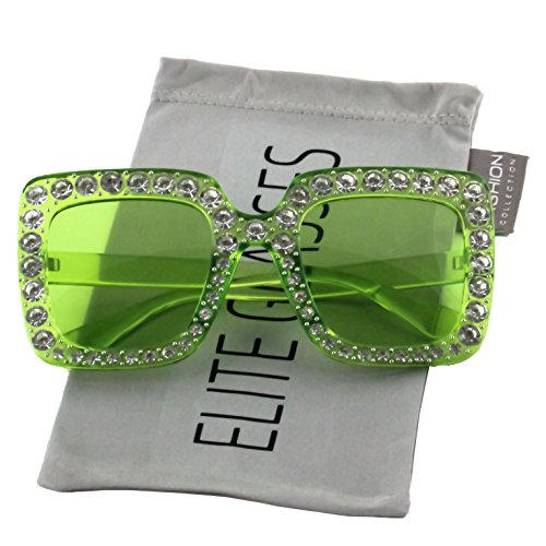 Elite Oversized Square Frame Bling Rhinestone Crystal Brand Designer Sunglasses For Women 2018 (Green, ()