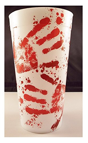 Bloody Hand Prints 16 Oz Reusable Plastic Party Drinking Cup