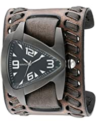 Nemesis Mens IP Ion-Plated Teardrop Quartz Stainless Steel and Leather  Watch, Color:Black (Model: VBDK061W)