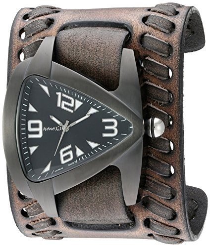 Nemesis Men's 'IP Ion-Plated Teardrop' Quartz Stainless Steel and Leather  Watch, Color:Black (Model: VBDK061W) (Watch Tonneau Stainless Steel)