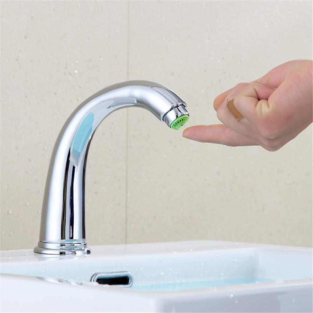 LHY BATHLEADER Touch Sensor Delay Tap Basin Sensor Faucet Bathroom Single Cold Taps with Foam Bubbler, Chromed