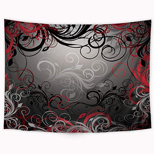 Riyidecor Black and Red Tapestry Abstract Pattern Tapestry Mystic Magical Forest Inspired Floral Swirls Leaves Tapestry Modern Wall Hanging Indigenous Bedroom Living Room 51x59Inch...