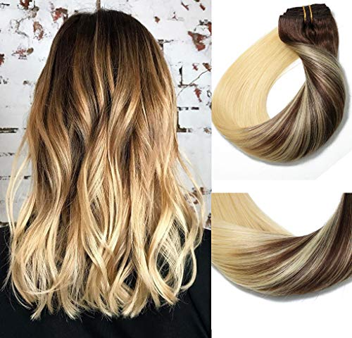 Clip In Human Hair Extensions Medium Brown to Bleach Blonde Extension Clip ins Thickened Double Weft 9A Brazilian Hair 120g 7pcs Full Head Silky Straight 100% Human Hair Clip In Extensions 18 Inch (Ombre Hair Brown To Blonde Medium Length)