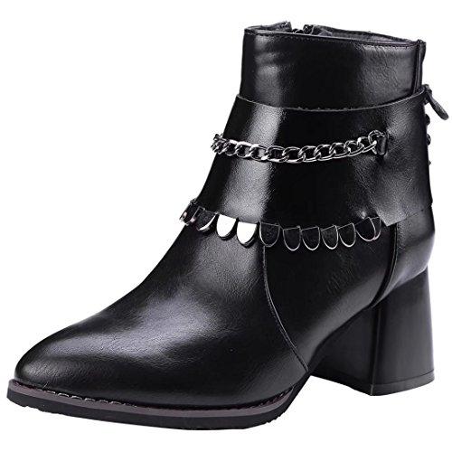 AIYOUMEI Damen Blockabsatz Stiefeletten mit Kette und 6cm Absatz Modern Herbst Winter Stiefel b8KiVtwT