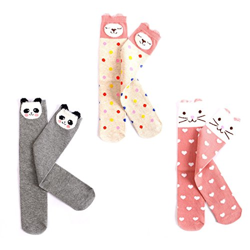 EIAY Shop Kids Cotton Socks Knee High Stockings Cute Cartoon Animals for 3-8 Year Olds (3 Pack) ()