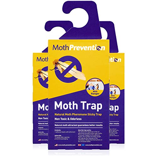 (Powerful Moth Traps for Clothes Moths | 3-Pack | Refillable, Odor-Free & Natural from MothPrevention | Best Catch-Rate for Clothes Moth and Carpet Moth Traps on The Market! - Results Guaranteed)