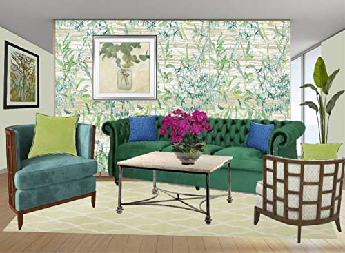 - GY2001D Grace & Gardenia Bamboo Garden Peel & Stick Wallpaper Green Tan Aqua