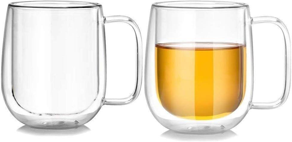 Double Wall Clear Coffee Mug 10 oz High Boron Silicon Glass Insulated Tea Mug (Set of 2)