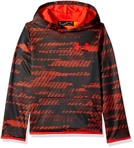 - Under Armour Boys Armour Fleece Allover Printed Hoodie, Charcoal Light Heath (019)/Radio Red, Youth Large
