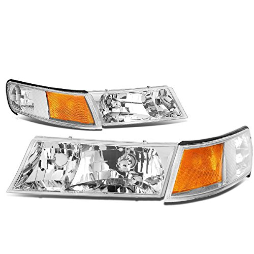 DNA MOTORING HL-OH-065-CH-AM Headlight Assembly, Driver and Passenger Side, Chrome Housing/Amber - Am Grand Corner Drivers Side