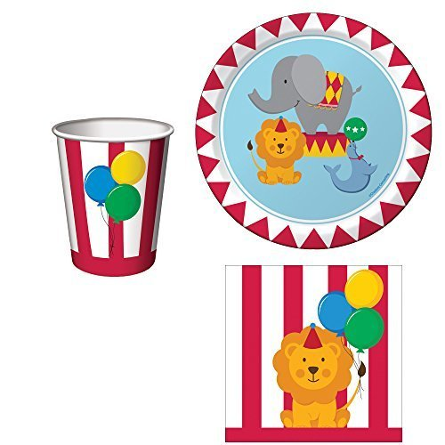 Cups 9 Ounce Circus (Circus Time Birthday Party Supplies Set: Plates, Napkins, and Cups Kit for 16)