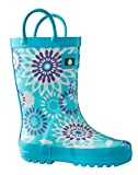 Oakiwear Kids Rubber Rain Boots with Easy-On Handles, Frozen Bursts, 1Y US Little Kid