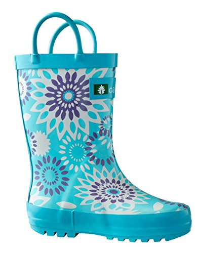 OAKI Kids Rubber Rain Boots with Easy-On Handles, Frozen Bursts, 6T US Toddler