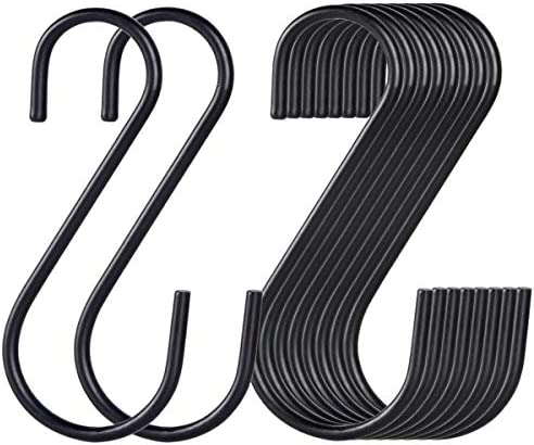 30 Pack Black S Hooks,Heavy Duty Metal Hooks Can Withstand up to 65 pounds.for Kitchen,Office,Garden or Outdoor Activities