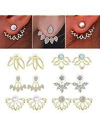 Adramata 6 Pairs Lotus Flower Earrings for Women Girls Simple Chic Fashion Stud Earrings