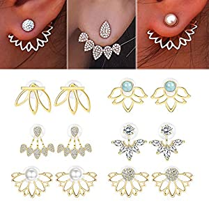 Adramata 6 Pairs Lotus Flower Earrings for Women Girls Simple Chic Fashion Stud Earrings