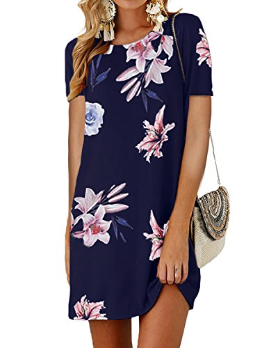 SUNNYME Women's Floral Mini T Shirt Dresses Short Sleeve Bowknot Summer Loose Tunics B-Navy 1 L ()