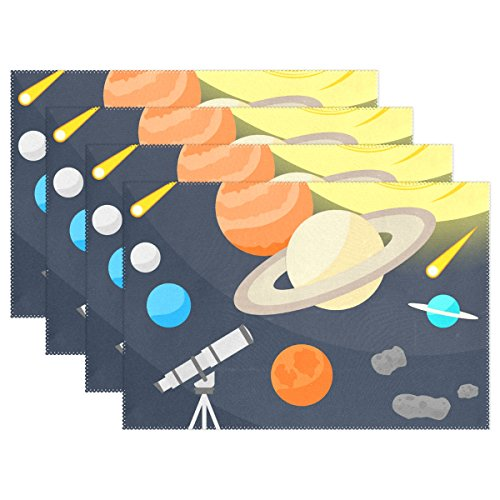 (ALIREA Cartoon Space Objects And Telescope Placemats, Heat-resistant Placemats Stain Resistant Anti-skid Washable Polyester Table Mats Non Slip Easy Clean Placemats, 12