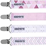 Premium Baby Pacifier Clip for Girl by KiddyByte - 4 Pack Teething Clips Accessory for Babies & Infants - Soft, Wrinkle Free Fabric with Metal End to Holds Binky, Soothie & Toys