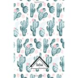 Notebook Journal Bullet Dotted Grid, Graph line: Light pink Nature Green Cactus Watercolor Pattern: Journal to write in, Smal