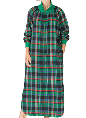 Womens Cotton Flannel Lounger (AmeriMark Women's Plaid Flannel Lounger LG (14-16) / Green)