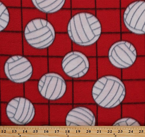 Fleece Volleyballs on Net Red Sports Fleece Fabric Print by the Yard 697-red