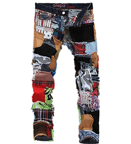 Krralinlin Mens Juniors Stitching Slim Fit Ripped Distressed Skinny Jeans