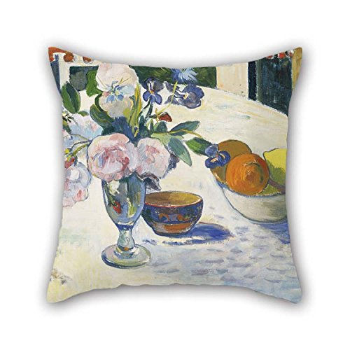 TonyLegner Oil Painting Paul Gauguin - Flowers and A Bowl of Fruit On A Table Throw Pillow Covers Best for Office Chair Valentine Wife Kitchen Play Room 16 X 16 Inches / 40 by 40 cm(Twice Sides) for $<!--$9.99-->
