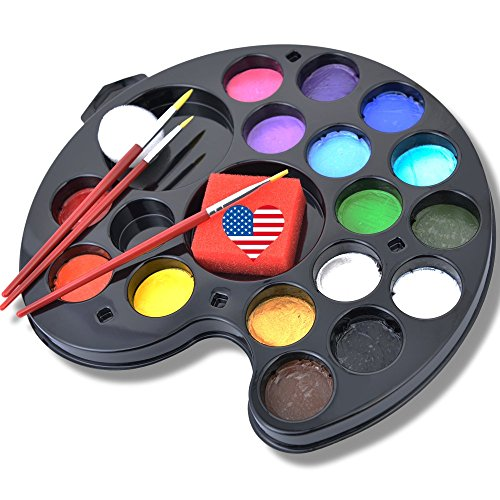 160 Faces Face Painting Kit 16 Washable Non-Toxic Color Vegan Body Paint Palette Set by Ava and Frank, 3 Brushes, 2 Sponges eBook for Kids Ages 3 Up Easy Fun for Parties, Events, Halloween -