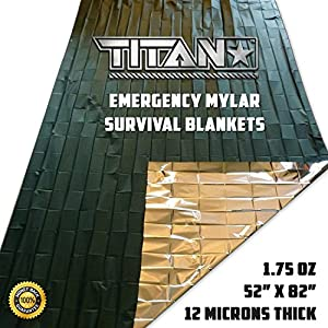 TITAN Two-Sided Emergency Mylar Survival Blankets, 5-Pack | Olive-Drab (27-000001)