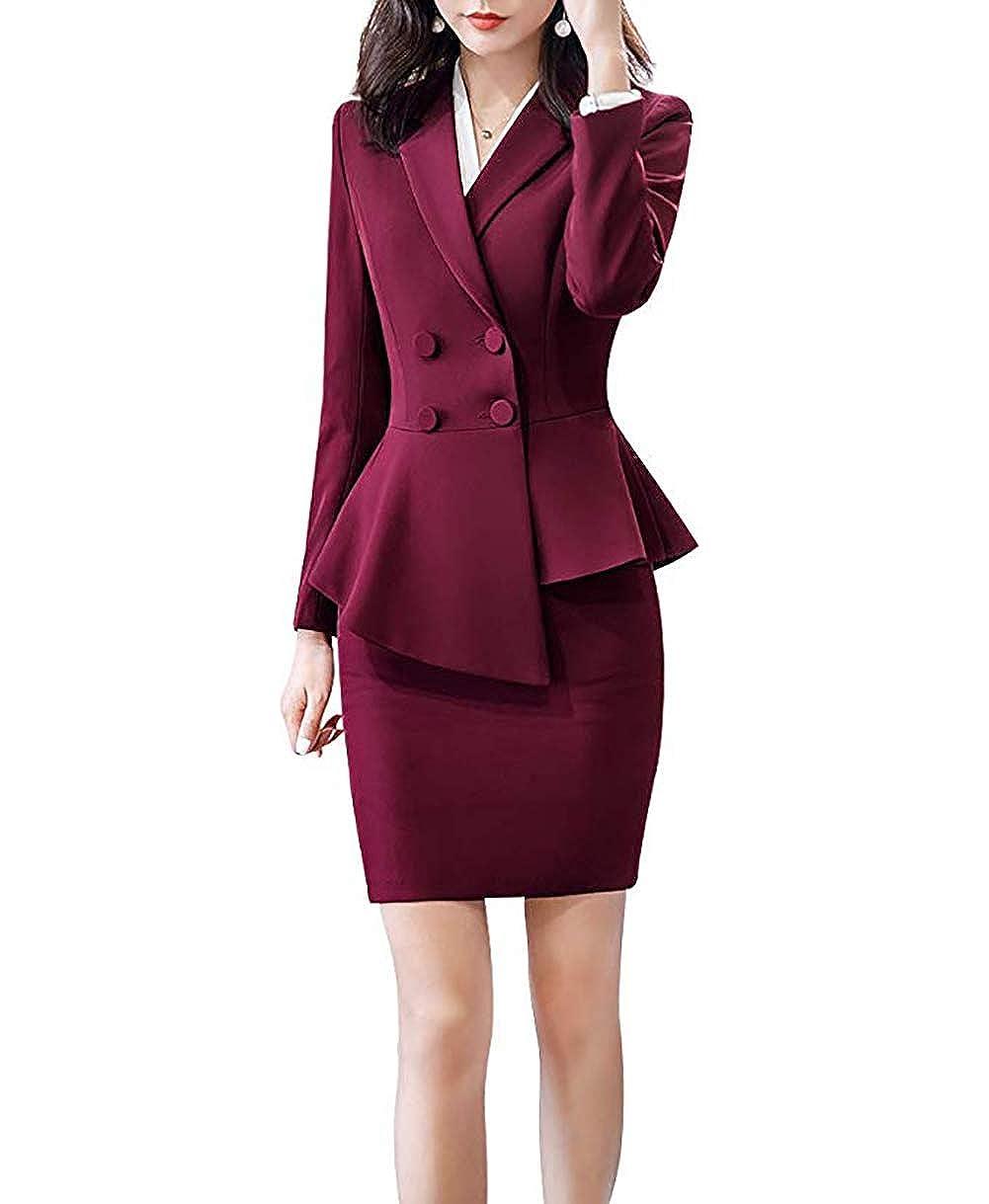 Dark Red LISUEYNE Women's 2 Pieces Office Blazer Suit Work Blazer Jacket,Pant Skirt