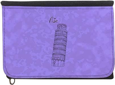 محفظة  بتصميم معالم عالمية - برج بيزا المائل ، قماش جينز