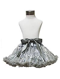 Silver Grey Sequin Pettiskirt Tutu Dress Girl Clothing for 1-8year