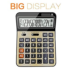 Calculators for office/Business/ Family Desktop Calculator with 14-digit Large Display, Solar and AAA Battery Dual Power