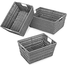 Whitmor Rattique Storage Baskets Set of 3 Grey