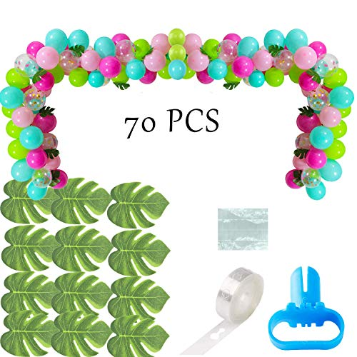 70 PCS Balloons Garland with Blue Green Hotpink Confetti Balloons,Hawaii Flamingo Tropical Themed Party Supplies for Birthday Party Summer Beach Party Supplies]()