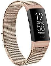 Metal Bands Compatible with Fitbit Charge 4 & Fitbit Charge 3 & Charge 3 SE Band, Adjustable Stainless Steel Loop Metal Mesh Replacement Sport Strap Wristbands for Women Men