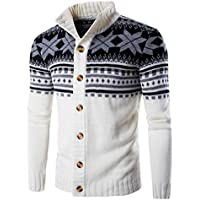 Laimeng,Men s Knitting wool Hooded Nail Wind Neck Sweater Jacket Blouse (M, White)