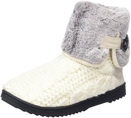 Dearfoams Damen Cable Knit Clog W/Plush Cuff Hohe Hausschuhe Off-White (Muslin)