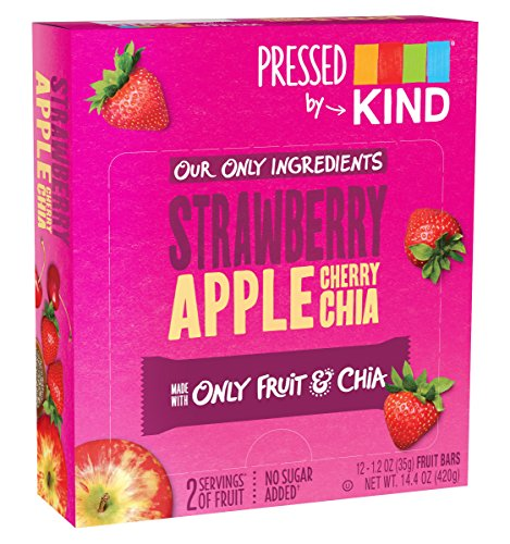 Strawberry Fruit Apple (Pressed by KIND Fruit Bars, Strawberry Apple Chia, No Sugar Added, Non GMO, Gluten Free, 1.2oz, 12 Count)