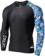LAFROI Men's Long Sleeve UPF 50+ Baselayer Skins Performance Fit Compression Rash Guard-C