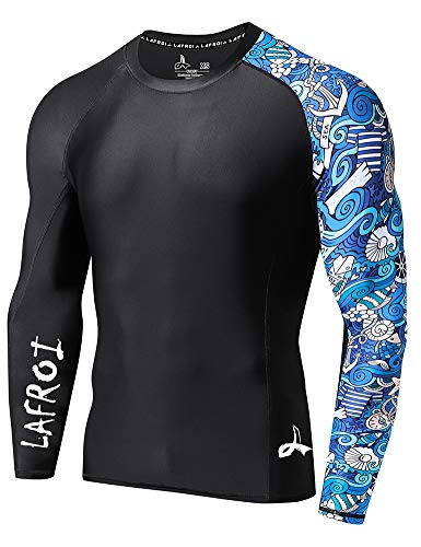 LAFROI Men's Long Sleeve UPF 50+ Baselayer Skins Performance Fit Compression Rash Guard-CLYYB