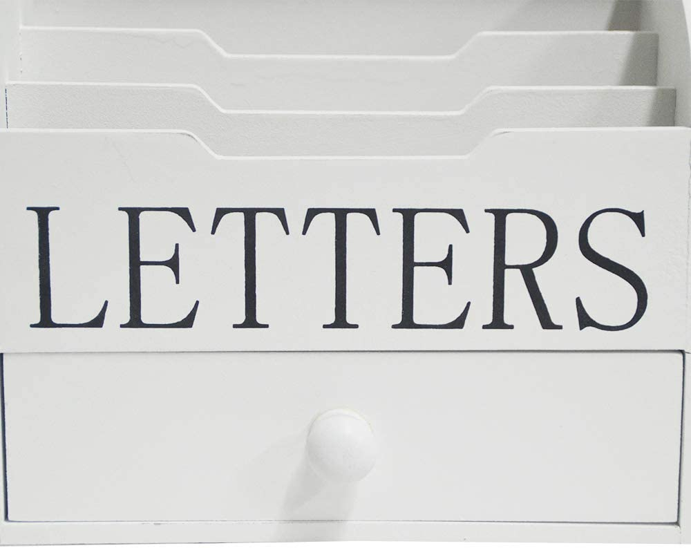 Grau DRULINE Landhaus Briefbox Vintage Letterbox Schublade LETTERS Shabby Chic