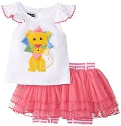 Mud Pie Baby Girl Two Piece Playwear Set Sleeveless, Multi, 0-6 Months
