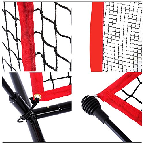 Super Deal 7'×7' Portable Baseball Softball Net w/Carrying Bag, Metal Bow Frame& Rubber Feet, for Training Hitting Batting Catching Practice by Super Dea (Image #7)